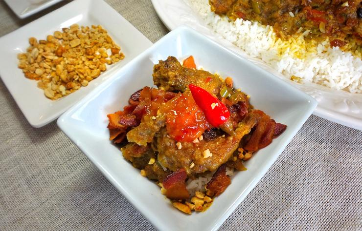 The combination of sweet relish or chutney and raisins contrasts with the spiciness of the curry powder.