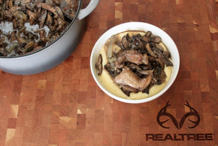 Serve the squirrel and mushrooms over a bowl of creamy, cheesy grits.