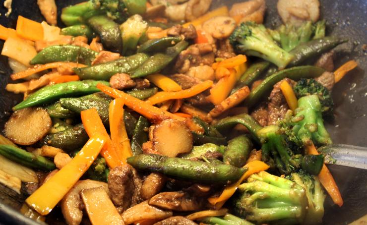 Cook everything hot and fast so that the vegetables are just cooked through and still a bit crisp.