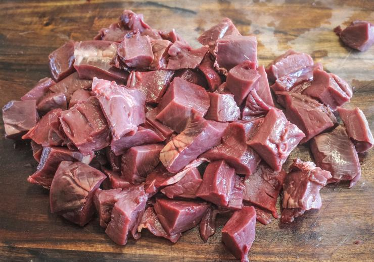 "Cut the trimmed meat into roughly 1"" pieces before marinating."