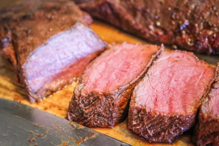 Rest the backstrap before slicing into medallions.