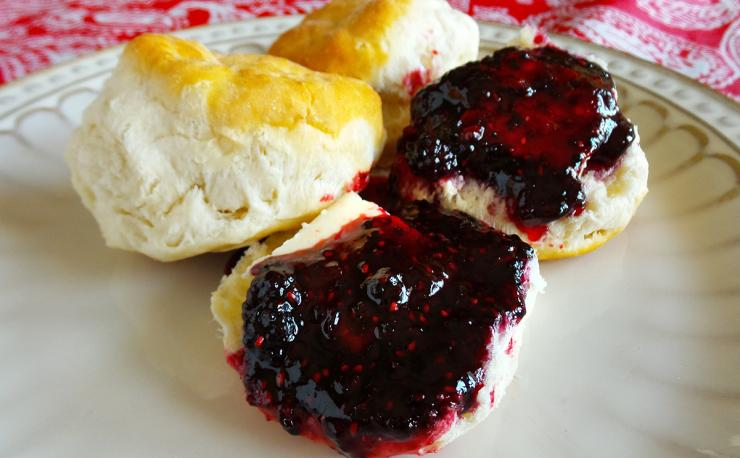 Nothing tops a piping hot biscuit better than a little butter and some blackberry jam.