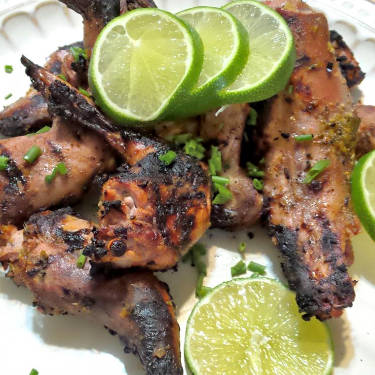 The marinade imparts a citrus zing to the squirrel that holds up well to the smoky grilled flavor.