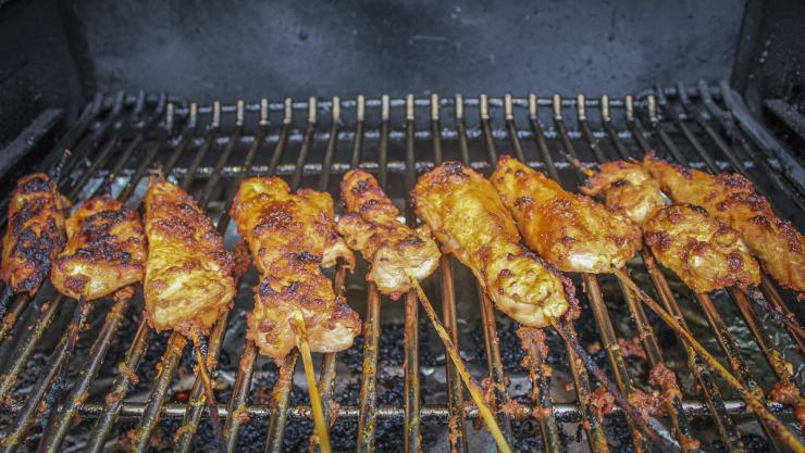 Grill the skewers for 7-9 minutes per side or until the turkey is cooked through and the coating has set.