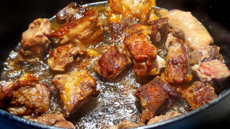 Brown the pork in batches to avoid overcrowding the pan.