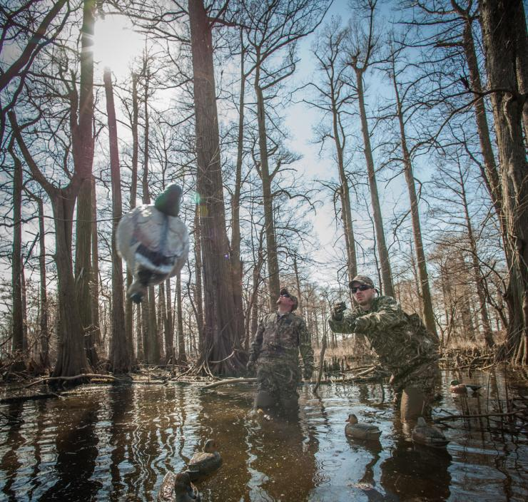 Ducks don't always land into the wind. Many days, it's best to set up with the sun at your back. Photo © Realtree