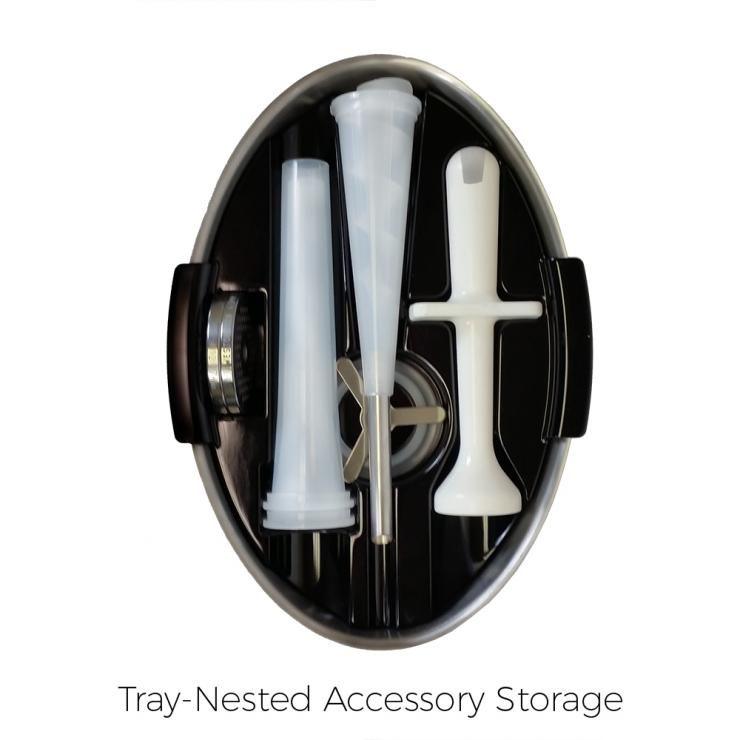 All attachments fit in the handy tray top holder so that they are always on hand.