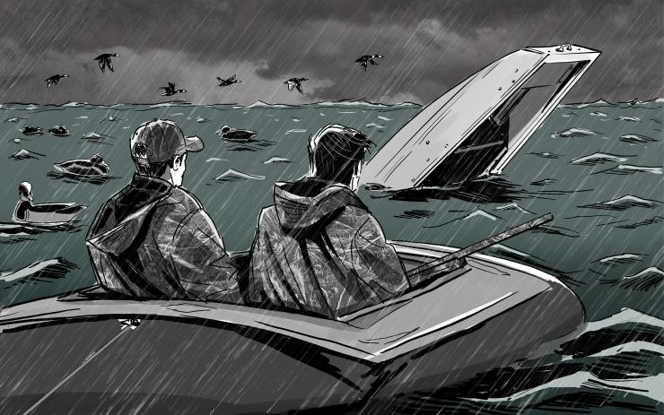 We were soaked and petrified but alive, riding the surging whitecaps in an unrelenting wind. Illustration © Ryan Orndorff