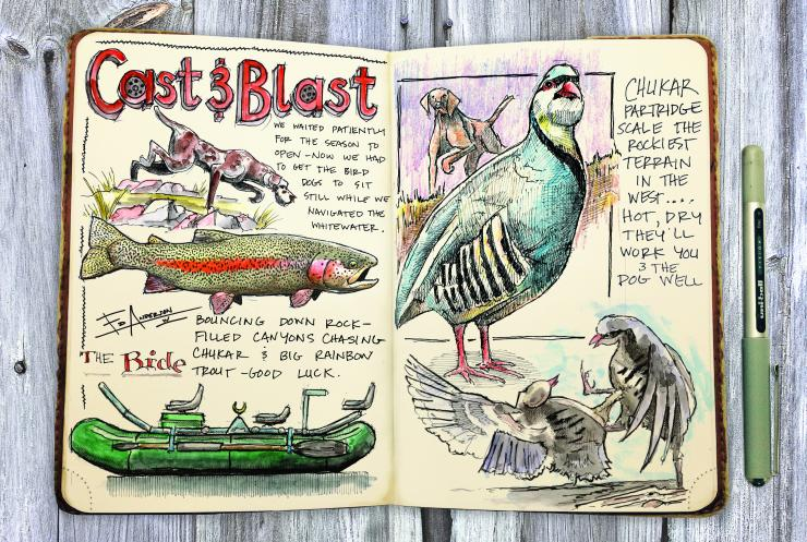 Ed Anderson's journals reflect his love of travel, hunting and fishing. (© Ed Anderson illustration)