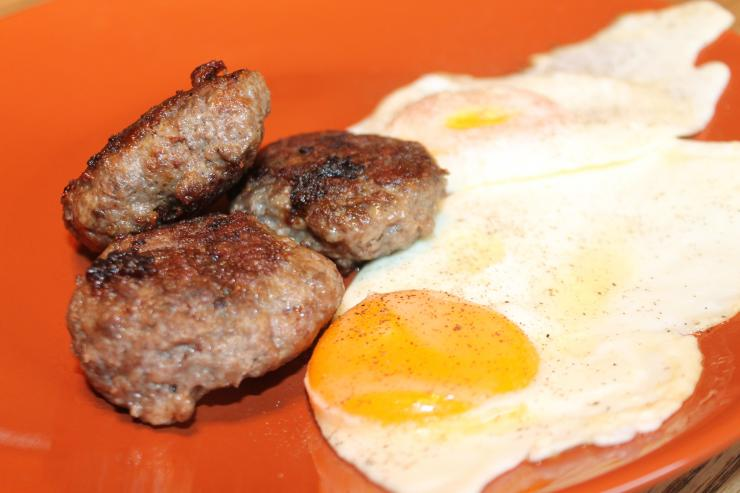 Fresh pork sausage and fried eggs make a perfect pre hunt breakfast.