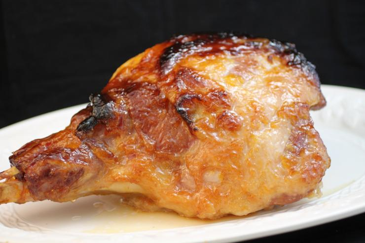 The bourbon peach glaze is a nice compliment to the saltiness of the ham