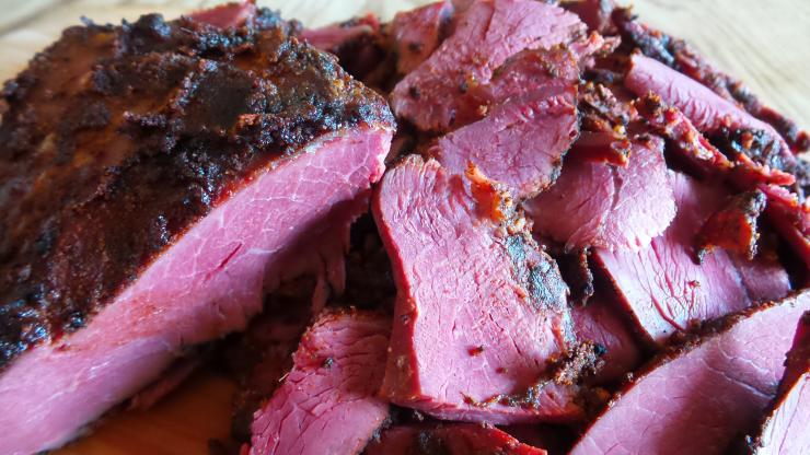 Because the pastrami is cured, the meat will remain pink even after being cooked through.
