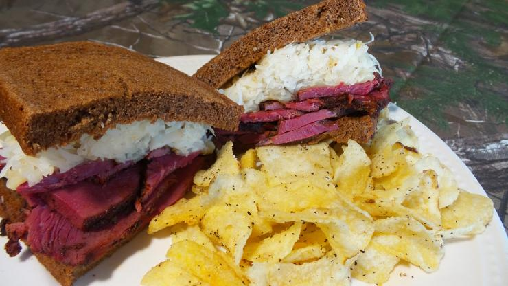 A Reuben on rye with sauerkraut and swiss cheese is a classic.