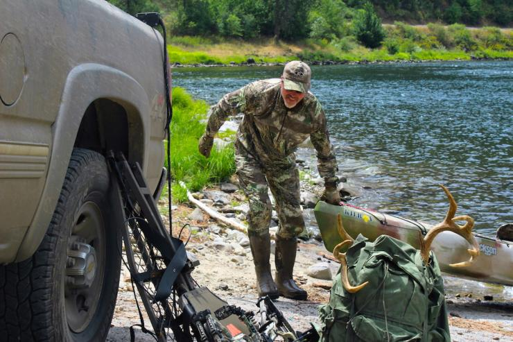 One of the major advantages of canoes and kayaks is they are easily launched from just about anywhere, even by solo hunters. They can be slid down a steep, rocky bank, or even carried on your shoulders to water far from vehicle access. (Patrick Meitin photo)