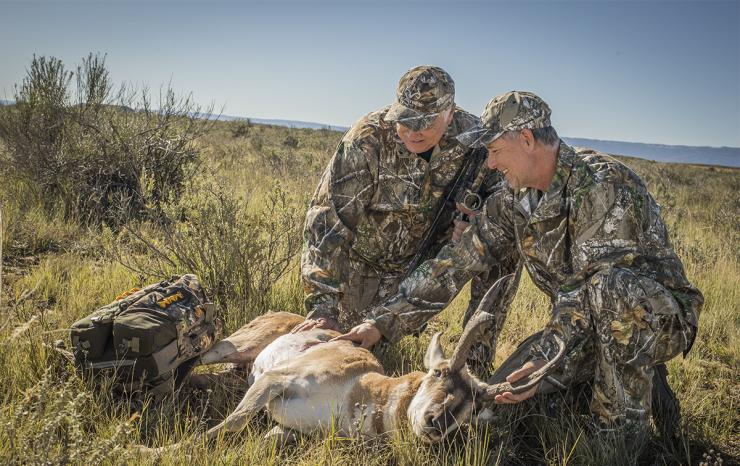 Fred Eichler admires a nice pronghorn antelope. (Bill Konway photo)