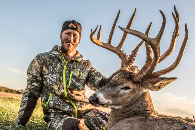 Bowhunter Scott Burton killed this 204-inch (gross score) double-beamed buck on a Kansas lease he manages with some buddies. (Photo courtesy of Alex Fulkerson)