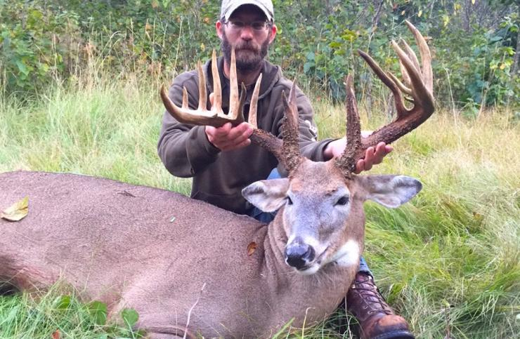 Wisconsin's Matt Ornes, a first-year bowhunter, nailed this 200 2/8-inch buck Sept. 18, his second afternoon on stand. (Photo courtesy of Matt Ornes)