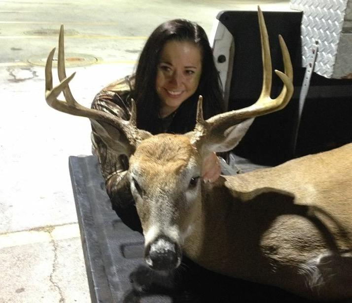 Erica Faulkner poses with her first big buck. I don't think she's an anti-hunter anymore. (Photo courtesy of Erica Faulkner)