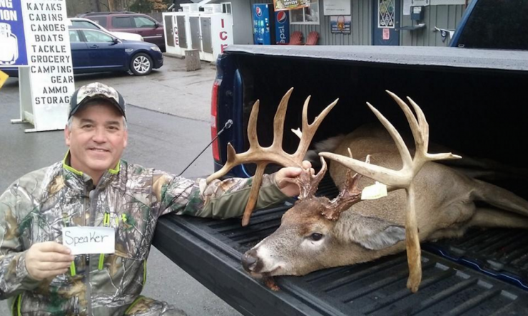Mike Speaker shot his dream drop tine buck. (Photo courtesy of Paul's Trading Post)