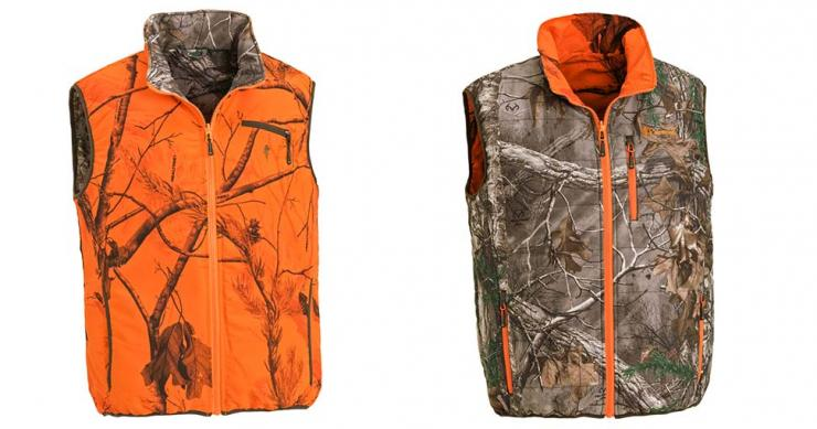 61a11783557fd The reversible vest is embossed in Realtree Xtra camouflage on one side and  the other side features Realtree Blaze camo. Realtree Xtra is made up of  tree ...