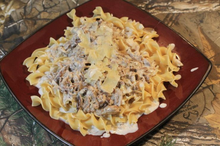 Serve the squirrel in cream sauce over egg noodles and top with shaved Parmesan cheese.