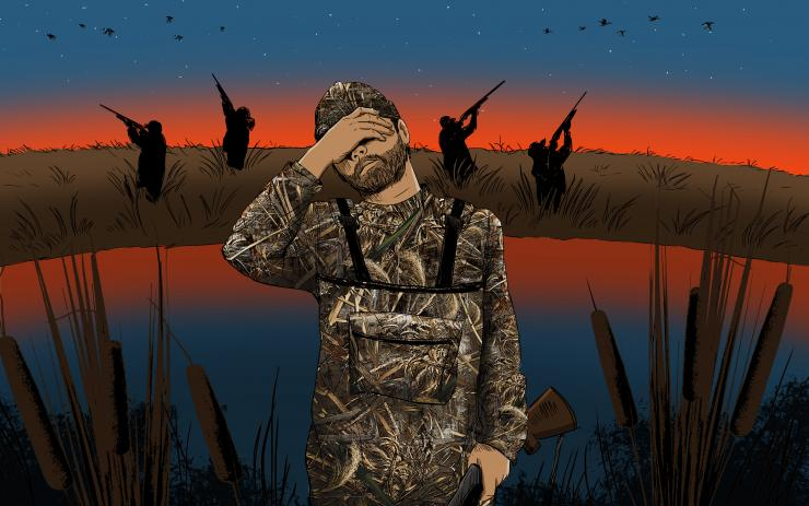 Legal shooting doesn't actually open for another 10 minutes. That and other duck hunting transgressions won't win any friends. Illustration © Ryan Orndorff