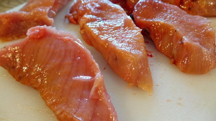 Slice breast meat into cutlets.