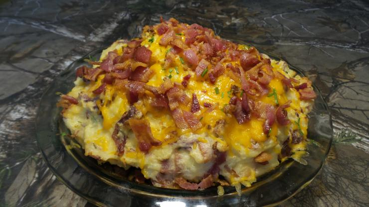 Bake the Shepherd's Pie to brown the potatoes and melt the cheese.