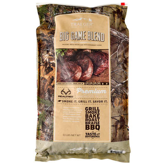 The Realtree Big Game Blend of pellets from Traeger are perfect for wild game.