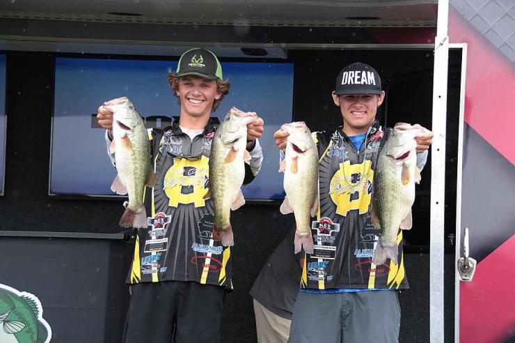 Mason Waddell and Cal Culpepper with some of the nice bass they caught during the FLW National Tournament. Photos by Andy Hagedon and Dawn Culpepper