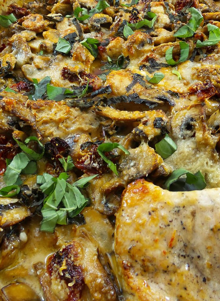 Rich creamy cheesy sauce tops savory wild turkey, mushrooms and sun-dried tomatoes in this bubbly casserole.