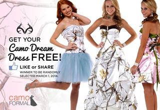 cb537356f5 Win your choice of a Camo Formal prom dress by simply