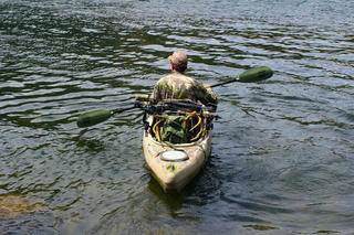 The author often hunts the edges of a large river near his home, launching from public boat ramps and paddling across to access Corps of Engineers land on the opposite bank. It is the only way to access the private, land-locked property. (Patrick Meitin photo)