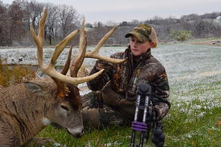 Taylor Byers of Midwest Whitetail rattled in this Iowa monster from 400 yards away on November 8. (Photo courtesy of Taylor Byers)