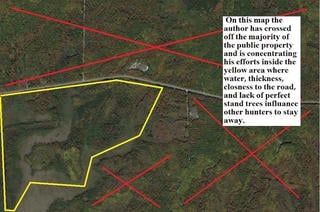 Look at an aerial map before scouting in-the-field. Cross off any areas you'd expect to be pressured by hunters. (Courtesy of Dan Infalt)