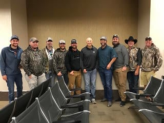 Coulton Seifert, Stephen McNelly, Phillip Culpepper, Cragg Fitz, Jay Alston, David Blanton, Michael Waddell, Justin Martin and Greg Thompson ready for departure after the hunt. (Realtree photo)