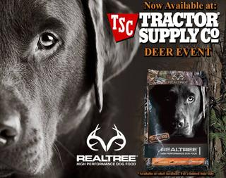 Realtree® High Performance Dog Food is now available at selected TSC locations across the US for a limited time