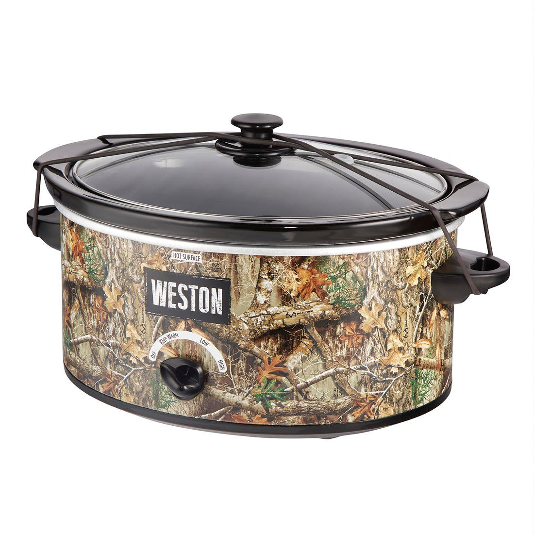 The Weston Realtree EDGE slow cooker is the perfect size for a family or deer camp.