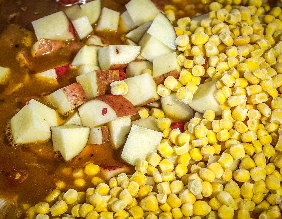Add the diced potatoes and corn and cook for another 30 minutes.