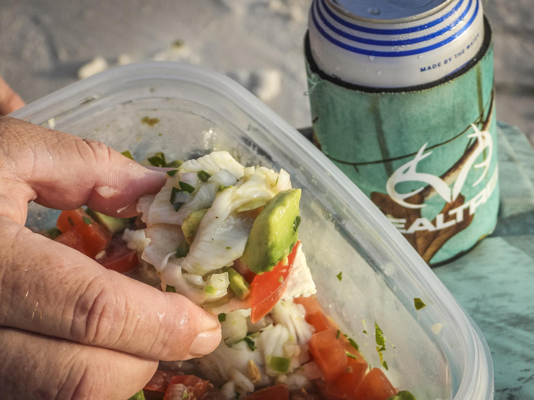 Serve the ceviche on crackers, chips, tortillas or toast along with your favorite beverage.