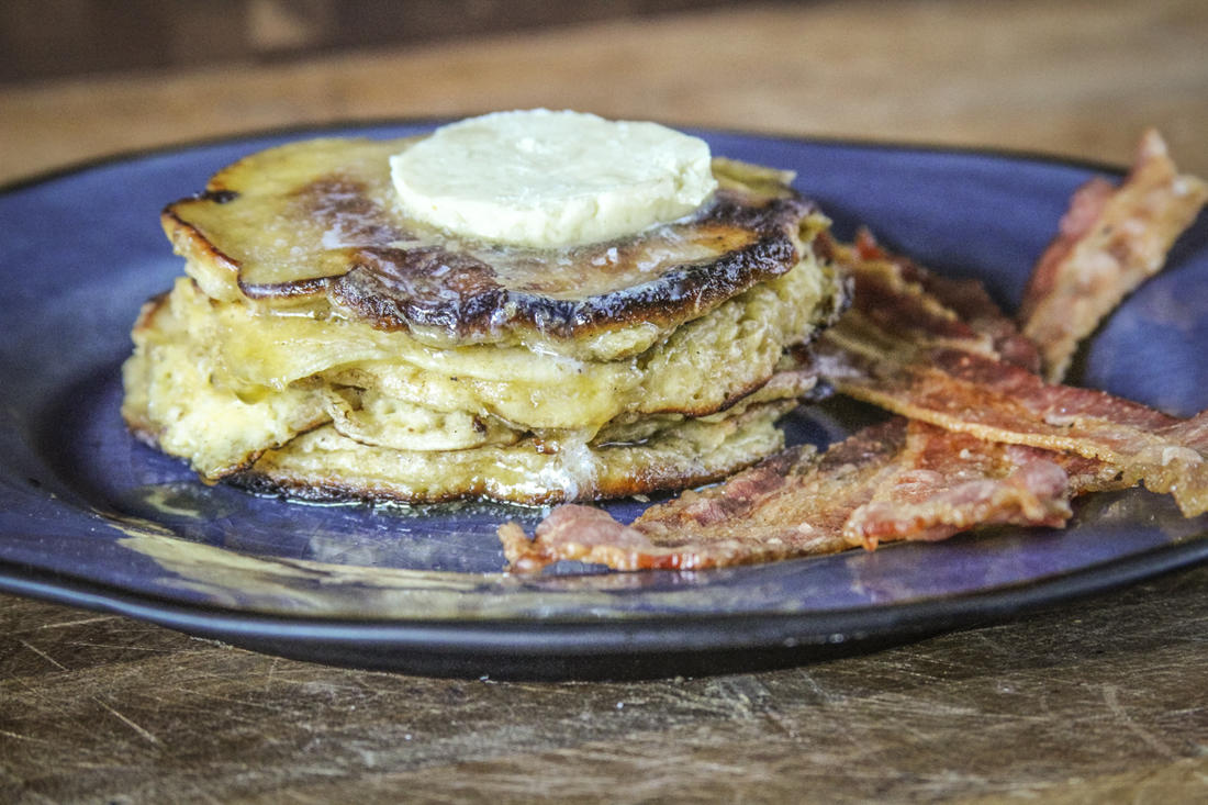 Top your stack with homemade butter and real maple syrup.