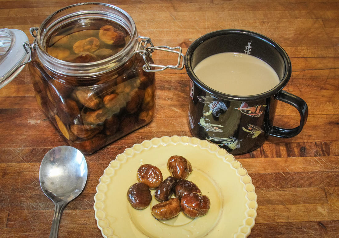 Store the candied chestnuts in syrup and serve over ice cream or for a morning snack with coffee.
