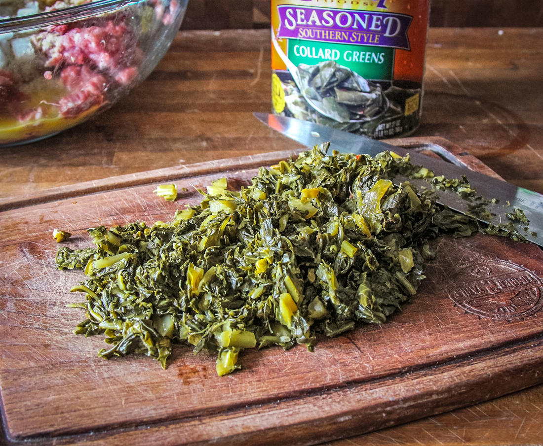 Squeeze the moisture from your favorite canned collard greens before dicing.