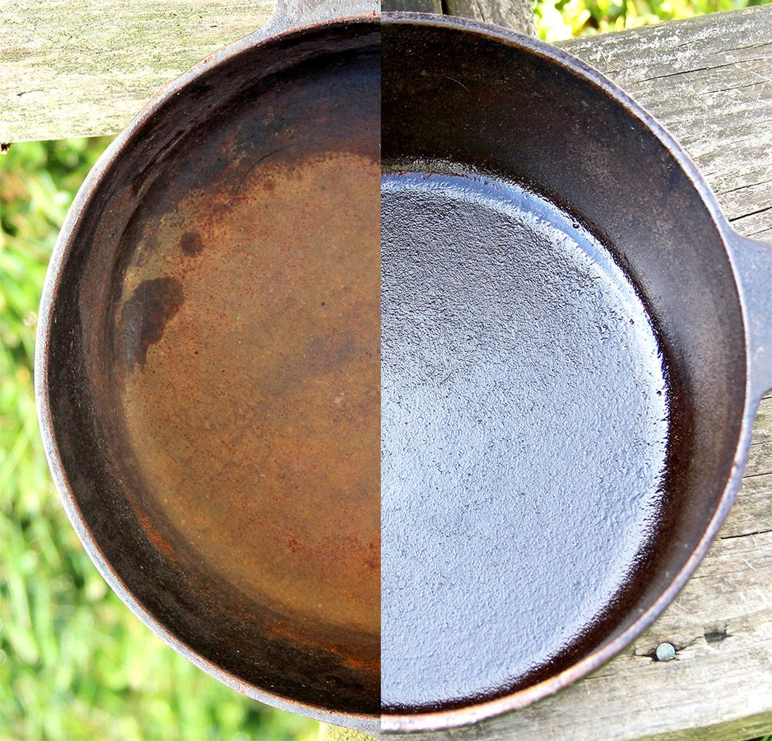 The same skillet, before and after a soak in the E-tank and reseasoning.
