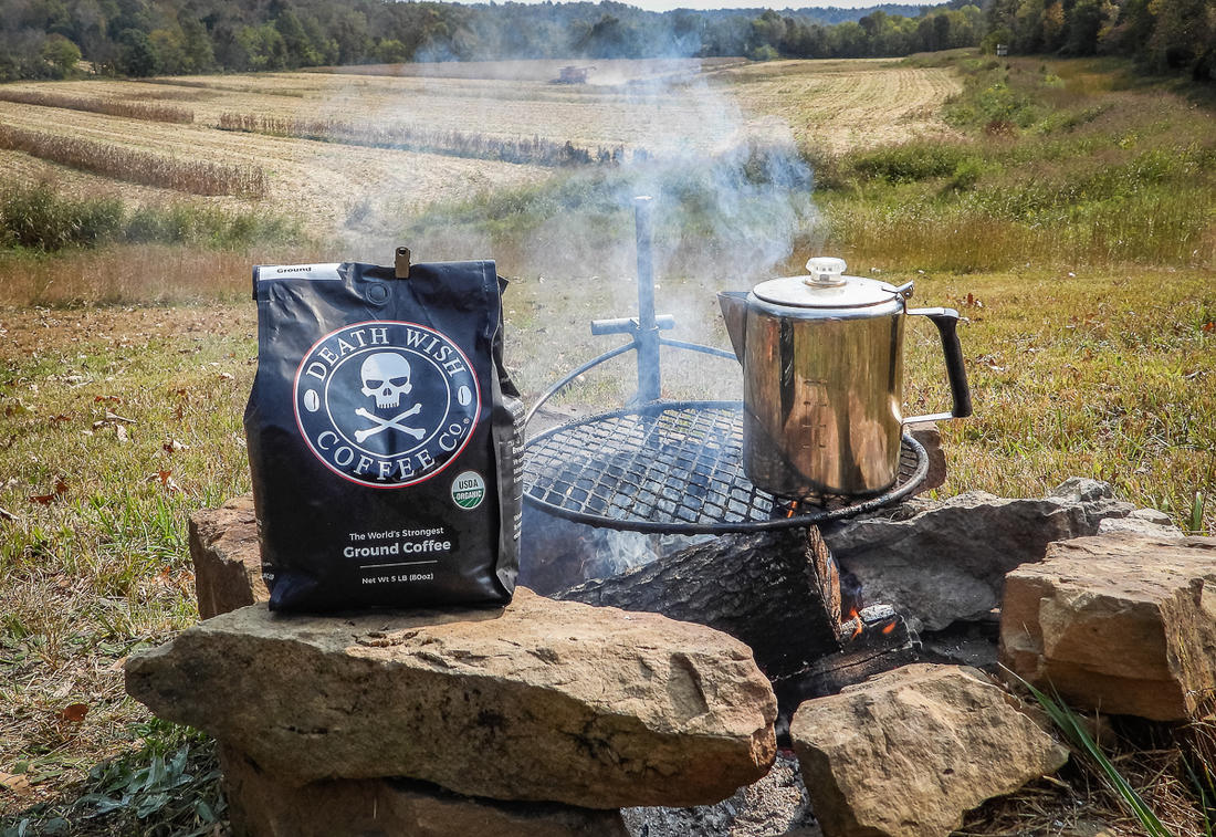 Camp coffee shouldn't suck. Start with quality beans like Death Wish Coffee.