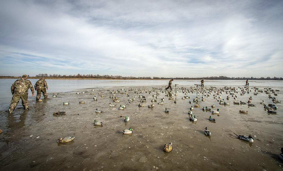 Breaking ice to set 150 decoys before dawn? That's normal behavior for someone afflicted with ODH disorder. Photo © Bill Konway