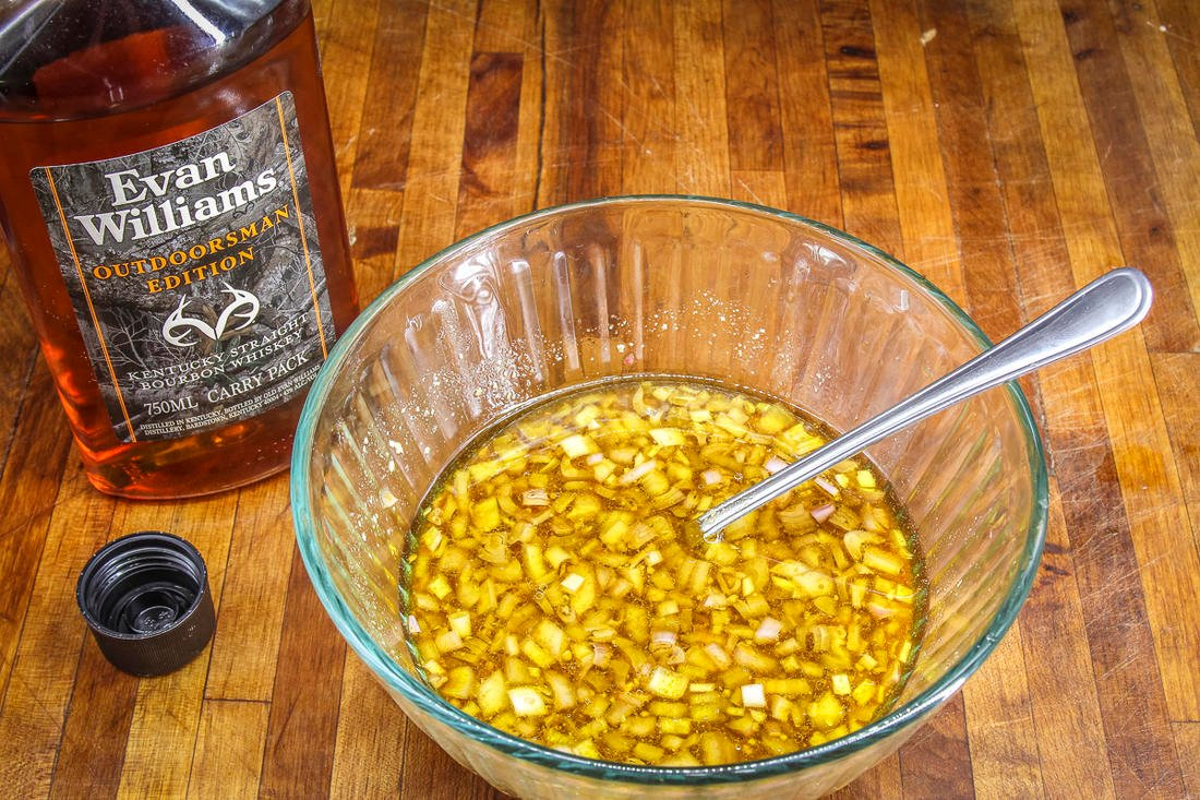 Combine the Evan Williams bourbon and other ingredients in the marinade.