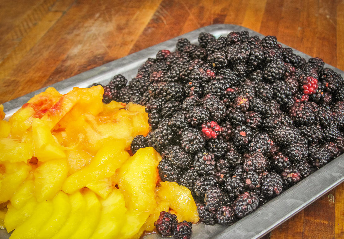 Nothing says summer like fresh peaches and blackberries.