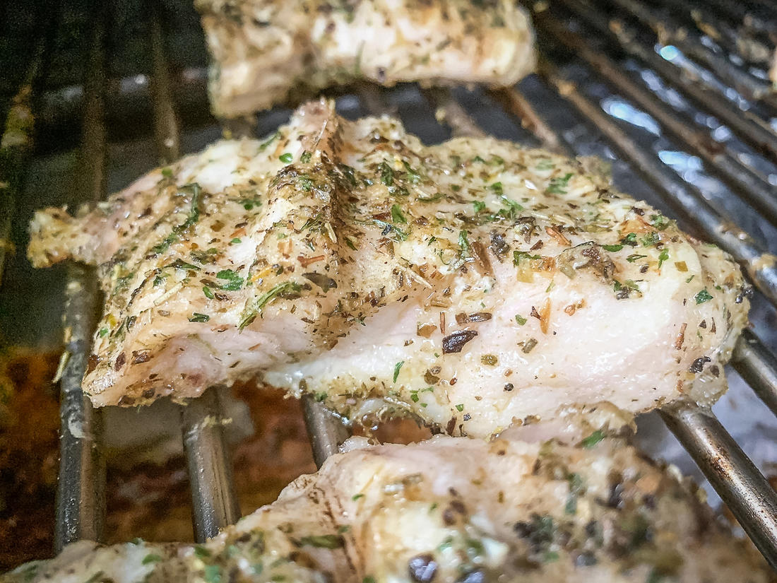 Grill the fish until the meat is white and flaky.