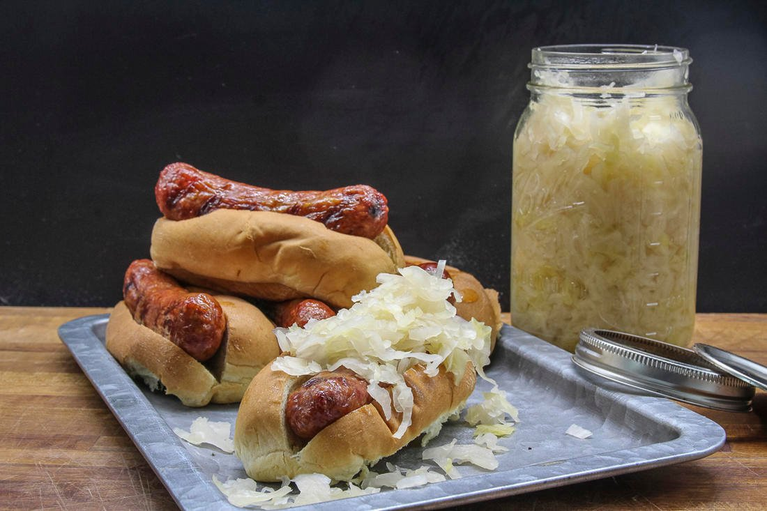 Homemade sauerkraut is the perfect topping for grilled venison brats.